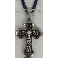 Damascene Silver Cross Chalice Pendant on Navy Cord Necklace by Midas of Toledo Spain style 9236